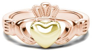 Classic Ladies Rose & Yellow Gold Claddagh Ring