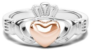 Classic Ladies Silver & Solid Rose Gold Heart Claddagh Ring