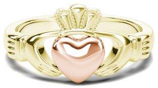 Classic Ladies Yellow & Rose Gold Claddagh Ring