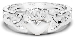 Ladies Claddagh Celtic Trinity Knot Silver Ring