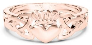 Ladies 14K Rose Gold coated Silver Claddagh Celtic Trinity Knot Ring