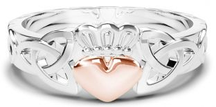 Ladies Silver & Solid Rose Gold Heart Claddagh Celtic Knot Ring