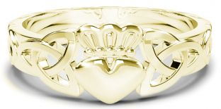 Ladies Gold Claddagh Celtic Knot Ring