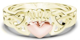 Ladies Yellow & Rose Gold Claddagh Celtic Knot Ring