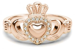 Ladies Diamond Silver Claddagh Ring