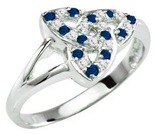 Ladies Sapphire Diamond Silver Celtic Trinity knot Ring