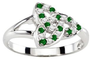 Ladies Emerald Diamond Silver Celtic Trinity knot Ring