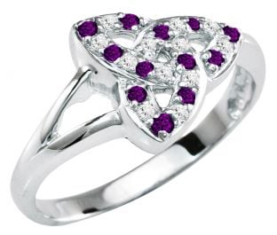 Ladies Amethyst Diamond Silver Celtic Trinity knot Ring