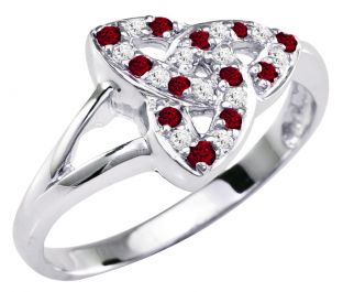 Ladies Ruby Diamond Silver Celtic Trinity knot Ring