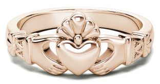 Ladies Rose Gold Claddagh Celtic Knot Ring