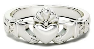 Ladies White Gold Claddagh Celtic Knot Ring