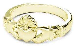 Ladies 14K Gold coated Silver Claddagh Celtic Knot Ring