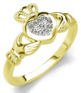 Silver Gold Diamond Silver Claddagh Ring
