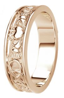 Rose Gold Celtic Claddagh Band Ring Ladies