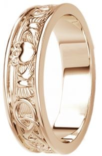 Rose Gold Celtic Claddagh Band Ring Mens