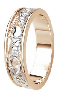 Rose & White Gold Celtic Claddagh Band Ring Ladies