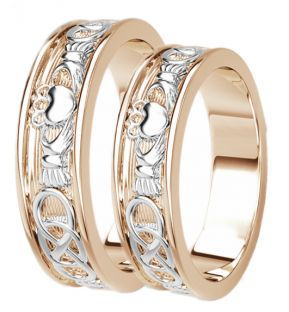 Rose & White Gold Celtic Claddagh Band Ring Set