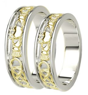 White & Yellow Gold Celtic Claddagh Band Ring Set