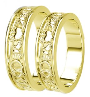 14K Gold coated Silver Celtic Claddagh Band Ring Set