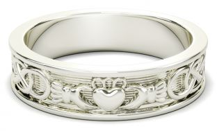 Silver Celtic Claddagh Band Ring Ladies