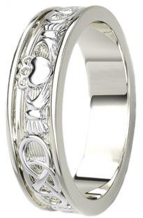 White Gold Celtic Claddagh Band Ring Mens