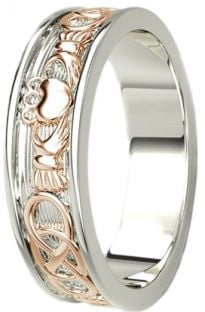 14K White & Rose Gold coated Silver Celtic Claddagh Mens Band Ring