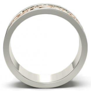 14K White & Rose Gold coated Silver Celtic Claddagh Band Ring Set