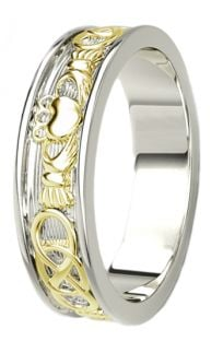 14K White & Yellow Gold coated Silver Celtic Claddagh Band Ring Ladies