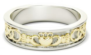 14K White & Yellow Gold coated Silver Celtic Claddagh Mens Band Ring