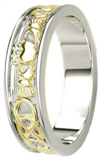 White & Yellow Gold Celtic Claddagh Band Ring Unisex Mens Ladies