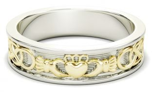 White & Yellow Gold Celtic Claddagh Band Ring Mens