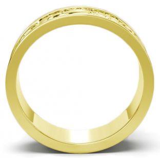 Gold Celtic Claddagh Band Ring Set