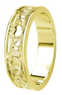 14K Gold coated Silver Celtic Claddagh Band Ring Ladies
