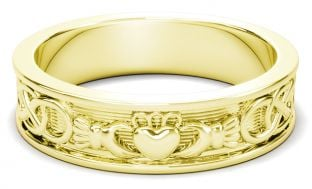 14K Gold coated Silver Celtic Claddagh Mens Band Ring