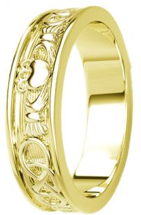 Gold Celtic Claddagh Band Ring Mens