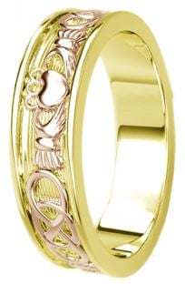 Yellow & Rose Gold Celtic Claddagh Band Ring Mens