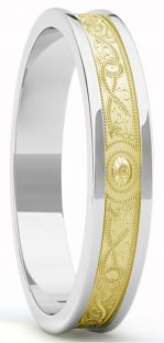 "Ladies Two Tone Yellow & White Gold over Silver Celtic ""Warrior"" Band Ring - 5.5mm width"