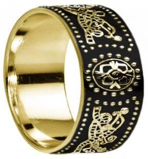 "Extra wide Celtic ""Warrior"" Mens Gold over Silver Black Rhodium Band Ring - 9mm width"