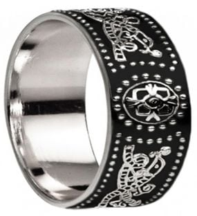 "Celtic ""Warrior"" extra wide Mens Silver Black Rhodium Band Ring - 9mm width"