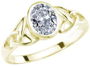 Ladies Diamond Silver Gold Celtic Trinity Knot Ring - April Birthstone