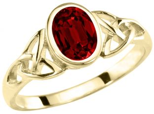 Ladies Ruby 14K Yellow Gold Silver Celtic Trinity knot Ring -  July Birthstone