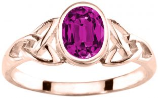 Ladies Sapphire Silver Celtic Trinity knot Ring