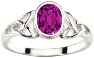 Ladies Alexandrite Silver Celtic Trinity Knot Ring - June Birthstone