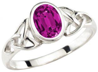 Ladies Alexandrite Silver Celtic Trinity Knot Ring - June Birthstone