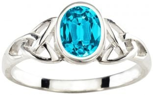 Ladies Aquamarine Silver Celtic Trinity Knot Ring - March Birthstone