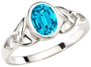 Ladies Aquamarine Silver Celtic Trinity Knot Ring - March Birthstone
