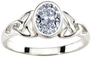 Ladies Diamond Silver Celtic Trinity Knot Ring - April Birthstone