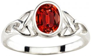 Ladies Garnet Silver Celtic Trinity Knot Ring - January Birthstone