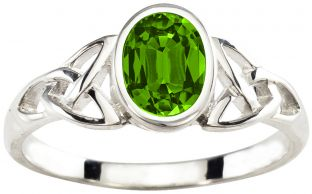 Ladies Peridot Silver Celtic Trinity Knot Ring - August Birthstone