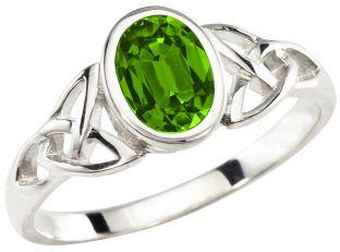 Ladies Peridot Silver Celtic Trinity Knot Ring - August Birthstone